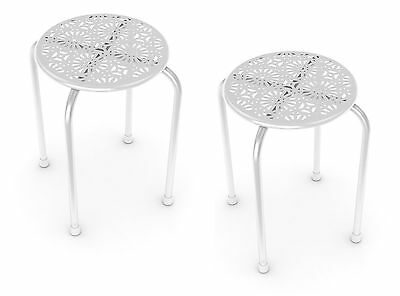 Dar Daisy Side Table/Stool in White-2 Pack