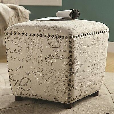 Coaster Home Furnishings 501108 Ottoman Upholstered in French Print Fabric wi...