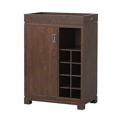 Homestar Furniture Wine Cabinet with Removable Tray in Brown