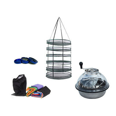 """16"""" Inch Leaf Bud Trimmer + 8x1 Gallon 4L Bubble Bags + Herb Dry Rack + Grinder"""