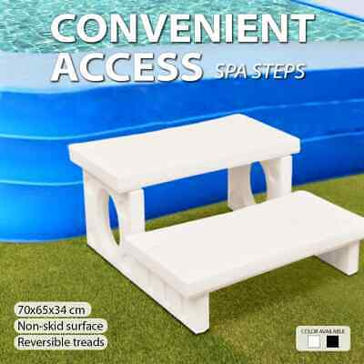 Spa Steps White/Black Plastic Hot Tub Reversible Round Straight Non-slip