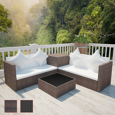 Brown/Black Wicker Rattan Outdoor Sofa Lounge Set Couch Two-Seater Storage Box