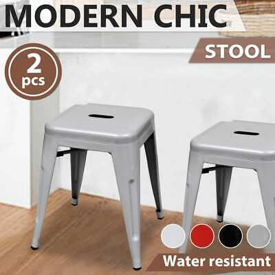 2pcs Kitchen Bar Stool Steel Stackable Dining Room Bistro White/Black/Red/Grey
