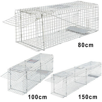 Folding Animal Trap Cage Humane Live Cat Rabbit Fox Catch 80cm/100cm/150cm Steel