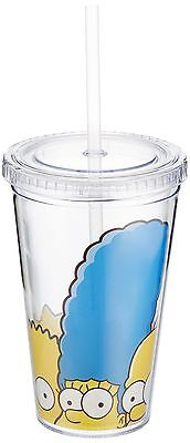 ICUP Simpsons Family Faces Cup with Straw Clear