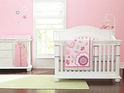 New Baby Girls Neutral Happy Bird Pink 8pcs Crib Bedding Set with musical mob...