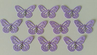 10 Light Purple Monarch Butterfly Embellishments with Rhinestones