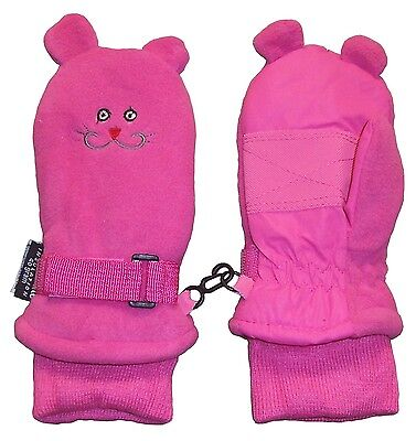 N'Ice Caps Girls Thinsulate and Waterproof Kitty Face Mittens Fuchsia solid
