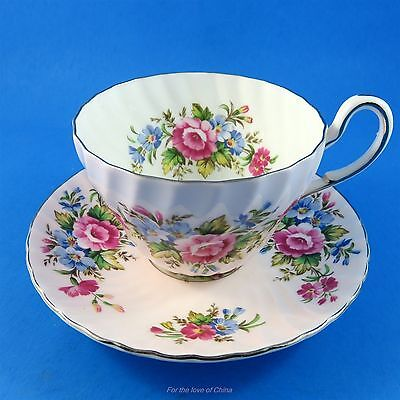 Pink Swirl Shape with Pink & Blue Bouquets Foley Tea Cup and Saucer Set