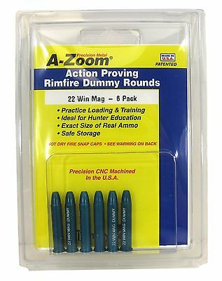 A-Zoom A-Snap Caps A-6-Pack Precision Fits 22 Win Mag Action Proving Dummy Ro...
