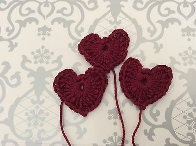 3 DEEP RED CROCHET HEARTS 100%cotton - great embellishments /scrapbooking