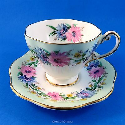 Pretty Cornflower Foley Demitasse Tea Cup and Saucer Set