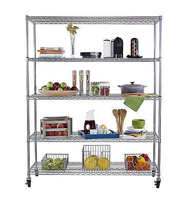 TRINITY 5-Tier NSF Heavy Duty X-Large Wire Shelving Rack with Wheels 60 by 24...