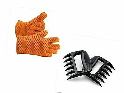 Silicone Gloves - Meat Claws - Heat Resistant Grilling Oven Gloves Mitts Set ...