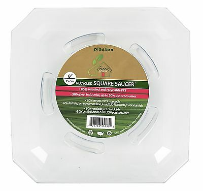 Plastec SQRO6 Square Recycled Plant Saucer 6-Inch