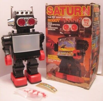 Old Battery Operated Saturn Space Robot w/ TV Chest + Shoots Missiles - in BOX