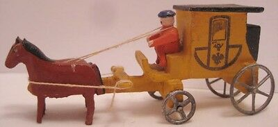 Old Wooden German Putz Miniature Horse Drawn Carriage for Christmas Village