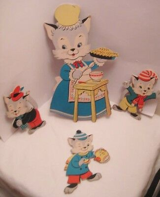 4 Old 1955 Cardboard Three Little Kittens / Cat Plaques - Dolly Toy Tipp City OH