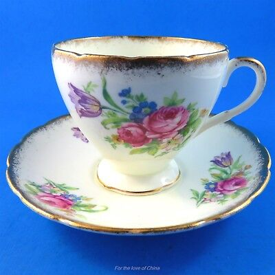 Pretty Flowers Foley Tulip Tea Cup and Saucer Set