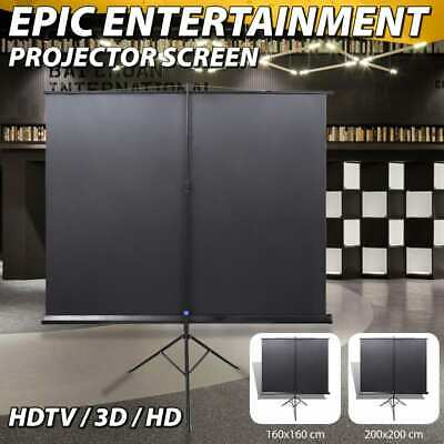 """Projector Screen Tripod Stand 90""""/111"""" 1:1 Theatre Office HD TV Movie Projection"""
