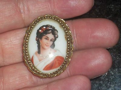 Victorian Limoge Cameo Brooch French Porcelain Gold Plate Hand Painted Vintage