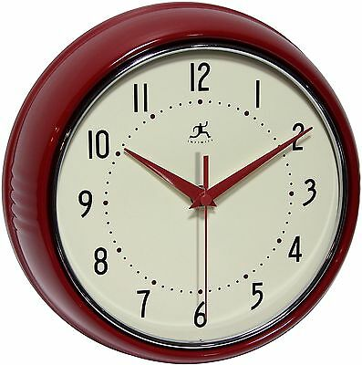 Infinity Instruments Retro Round Metal Wall Clock Red