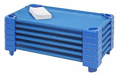 ECR4Kids Stackable Ready to Assemble Kiddie Cot with Sheet Toddler Size Blue ...