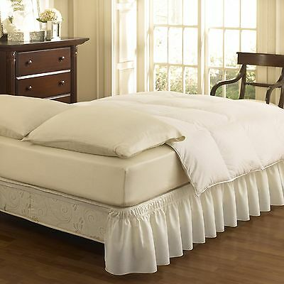 Easy Fit Ruffled Solid Bed Skirt Queen/King White