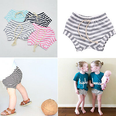 Cute Infant Baby Boys Girls Baggy Shorts Bottoms Stripes Toddler Summer Bloomers