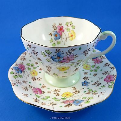 Delicate Handpainted Floral Chintz Foley Tea Cup and Saucer Set