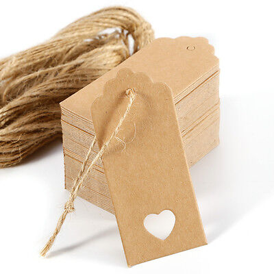 100pz. Carta Kraft Cuore Tag Marrone per Regalo Carta Matrimonio Vintage 4x9cm