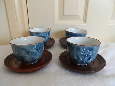 Vintage Blue Japanese Tea Cups With Wooden Saucers X 4