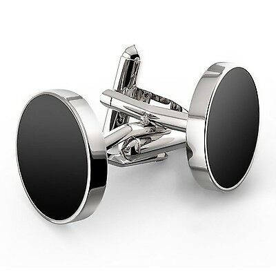 LBFEEL Round Black Agate Cufflinks for Men with a Gift Box
