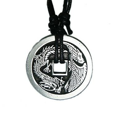 Exoticdream Feng Shui Chinese Lucky Dragon / Phoenix Coin Necklace Casino Pok...