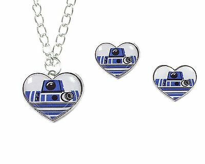 Disney Star Wars R2-D2 Heart Necklace and Earring Set