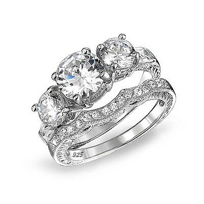 Bling Jewelry 3 Stone CZ Wedding Engagement Ring Set Vintage Style Silver 8