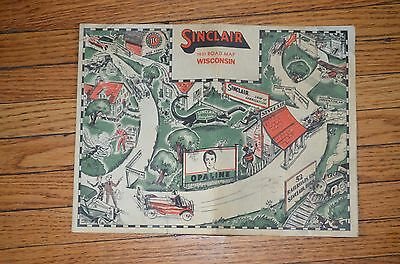 vintage sinclair 1931 Road Map Wisconsin Sinclair Opaline motor oil gas ad