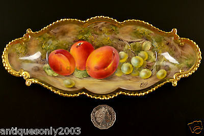 RARE Royal Worcester Fruit Hand Painted Crimped Gold Edge Dish Signed PETER LOVE