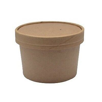 PacknWood Round Kraft Soup Container Bucket with Paper Vented Lid 8 oz. Capac...