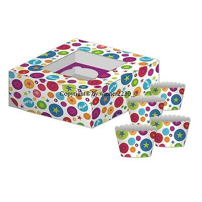 Premium Quality Cupcake box + 4 Wrapper GLOSS COLOURFUL PARTY 4 HOLE with Window