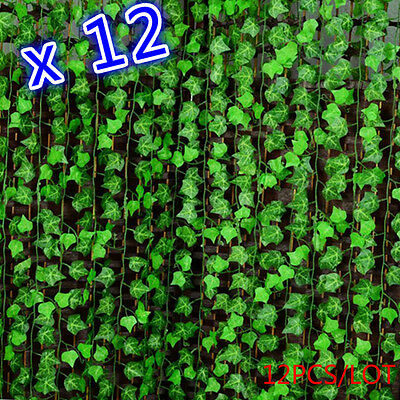 12pcs Green Manmade Ivy Leaf Plants Vine Fake Foliage Flowers Home Decor 7.87ft