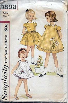 Simplicity 3893 Girl's Dress, Pinafore & Panties Vintage '50s or '60s Pattern