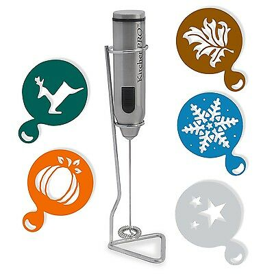 KitchenPRO Stainless Steel Electric Milk Frother with Stand - Home Cappuccino...