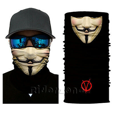 Motorcycle Face Mask Balaclava Tubes Neck Gaiter Headware  V for Vendetta