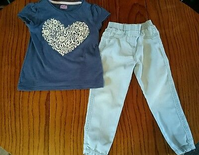 2-3 years girls outfit jeans and navy short sleeved top