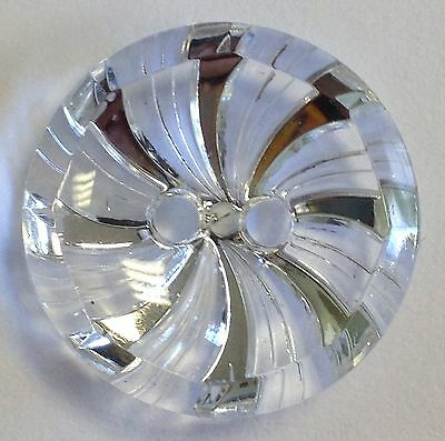 Crystal Silver Glass Swirl buttons 2 hole 18mm Packs 10/20/50/100