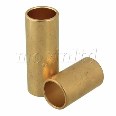 2 x Guitar Finger Knuckle Brass Glass Slide Tube Golden 62x22/40x22mm