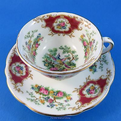 Deep Red Foley Broadway Demitasse Tea Cup and Saucer Set