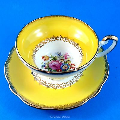 Yolk Yellow Border with Floral Center Foley Tea Cup and Saucer Set