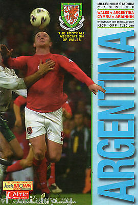 WALES v  Argentina 13th September 2002 friendly football programme